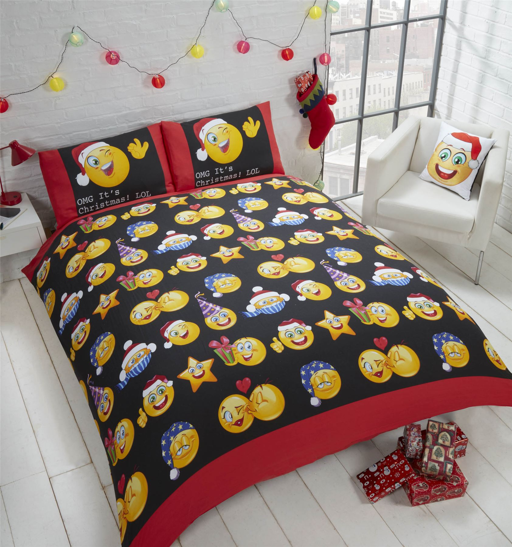 Christmas-2017-NEW-Bedding-Duvet-Cover-Bright-Colourful-Festive-Xmas-Santa