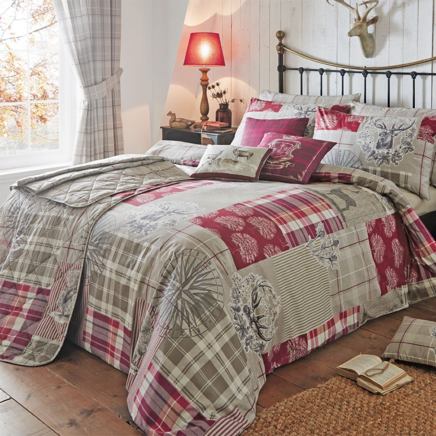 Bed sheets designs patchwork - Tatton Patchwork Duvet Quilt Cover Bedding Red Heather