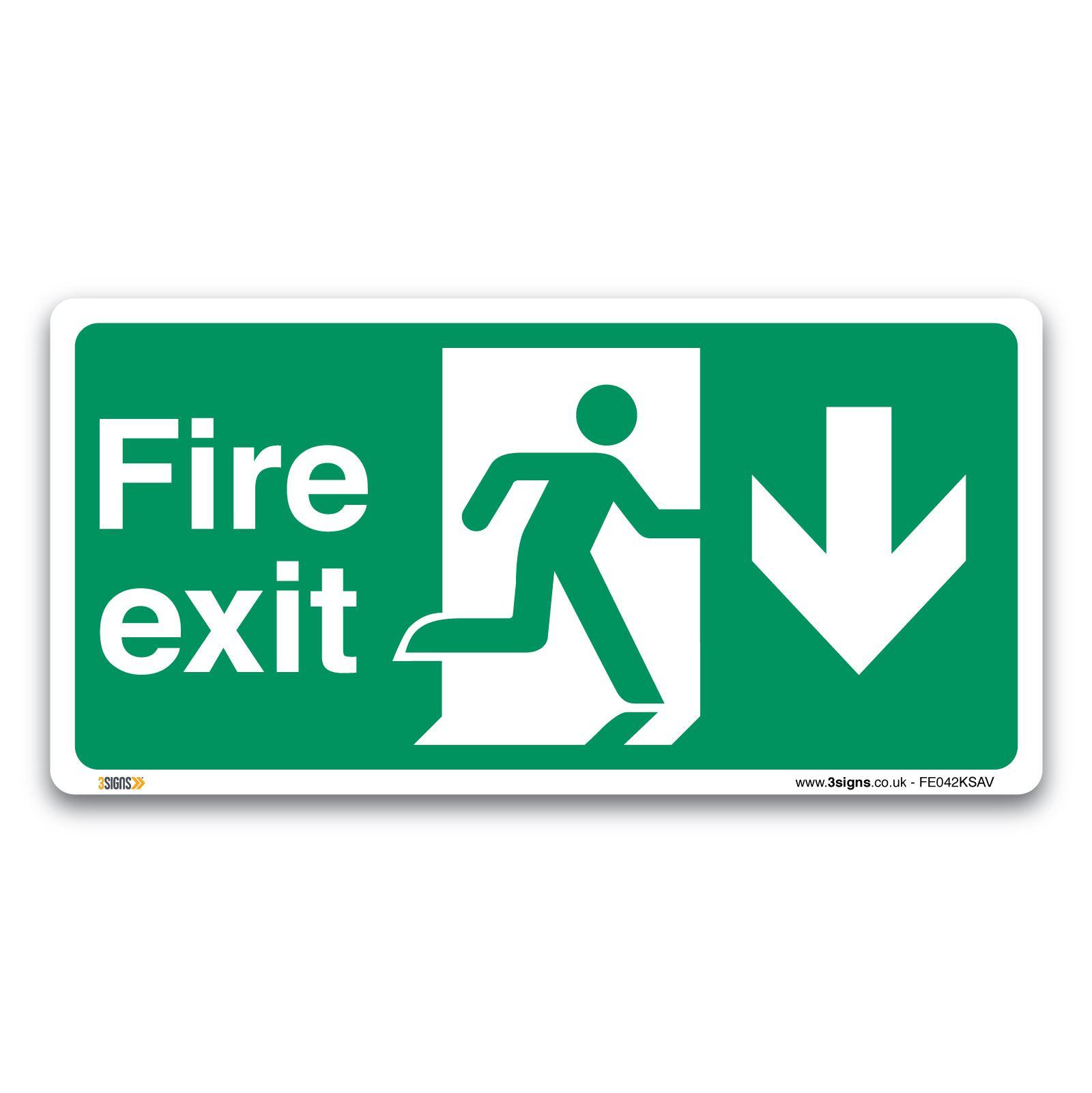 Fire Exit Running Man Sign Vinyl Sticker British