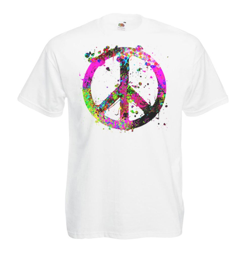 hippie peace sign design t-shirt men/'s peace symbol tee shirt for men