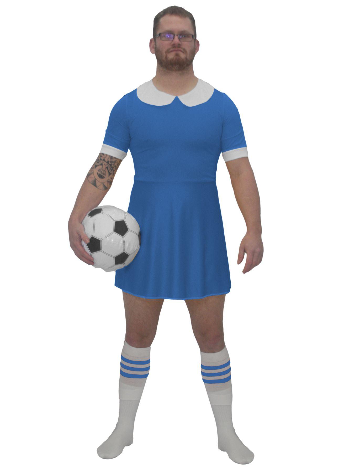 Mens Blue Football Dress Costume Funny Soccer Fancy Dress World Cup ...