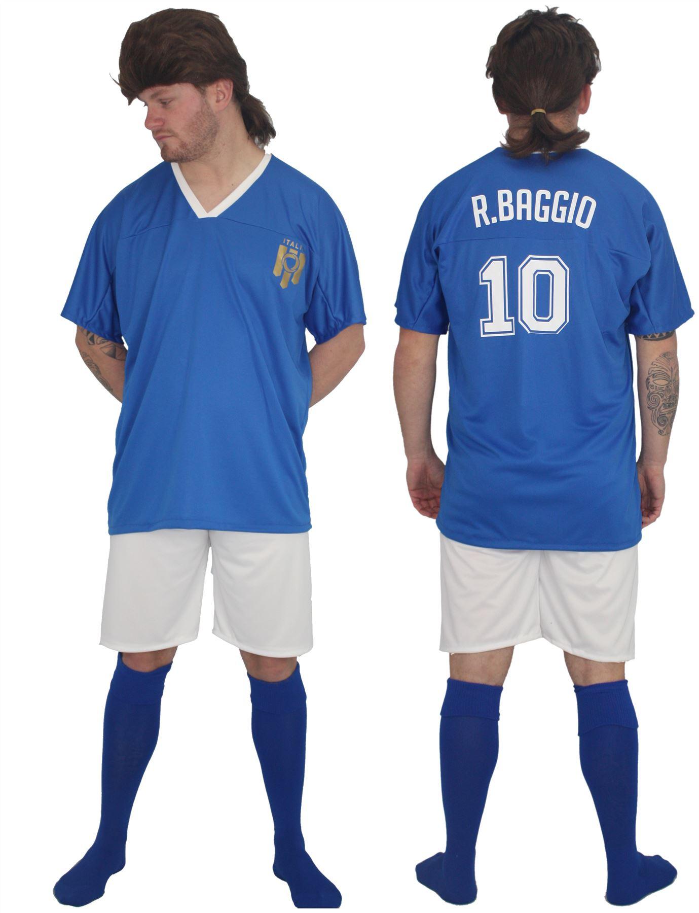 Adults Italy Football Icon Roberto Baggio Kit Fancy Dress /& Wig