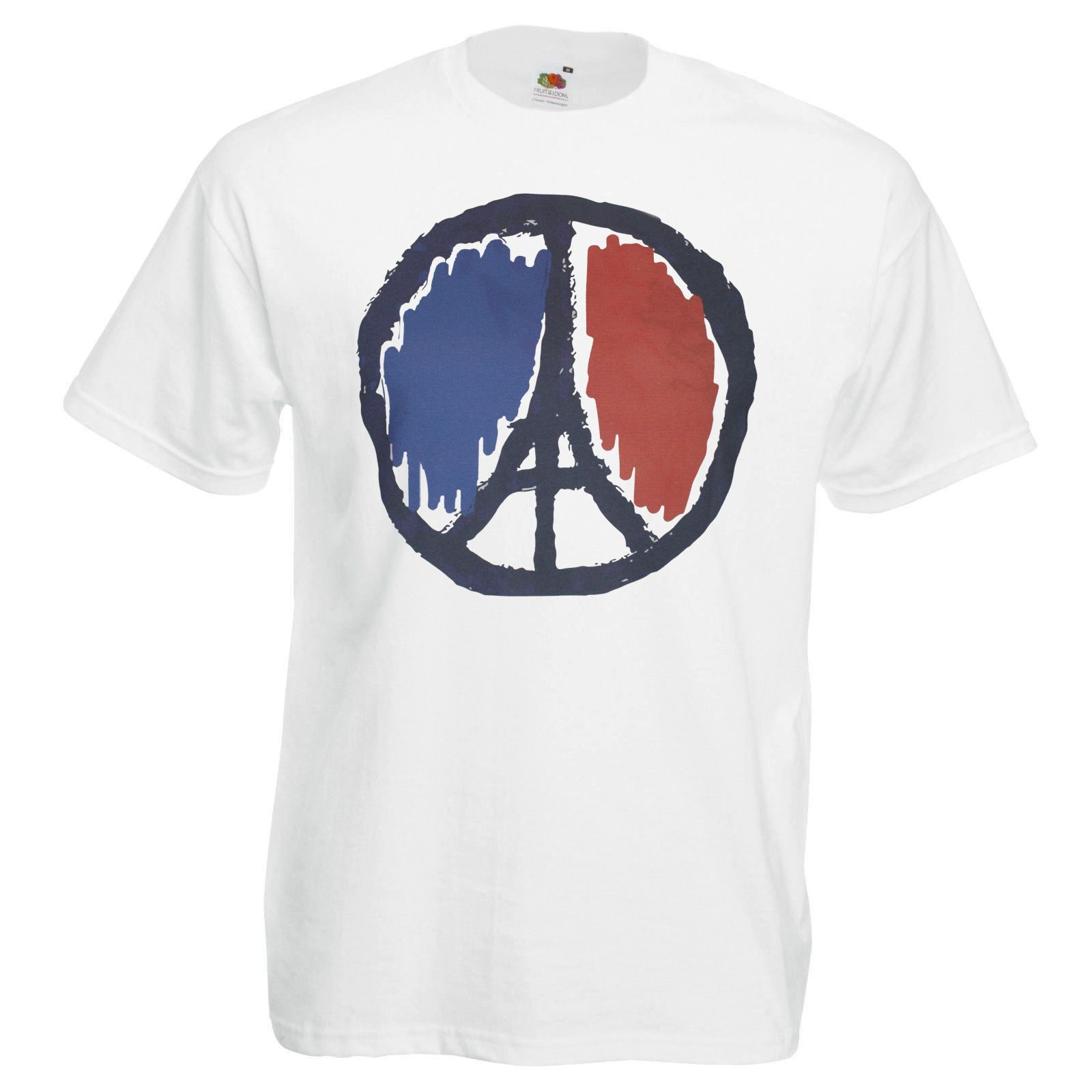 Mens White Peace in Paris T shirt French Flag Political Ceasefire One Love