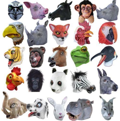 Full Head Rubber Latex Animal Zoo Masks Safari Fancy Dress