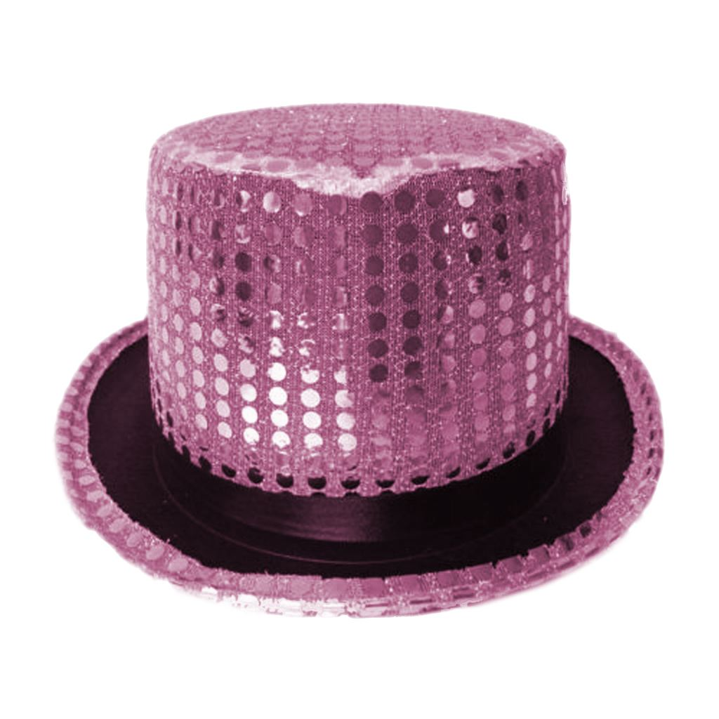 Adults Pink Sequin Ring Masters Top Hat Ladies Hen Party Fancy Dress Accessory