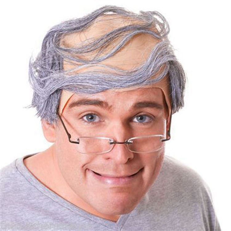 Grey Funny Old Baldy Man Wig Bald Hair Perve Joke Comb Over Fancy