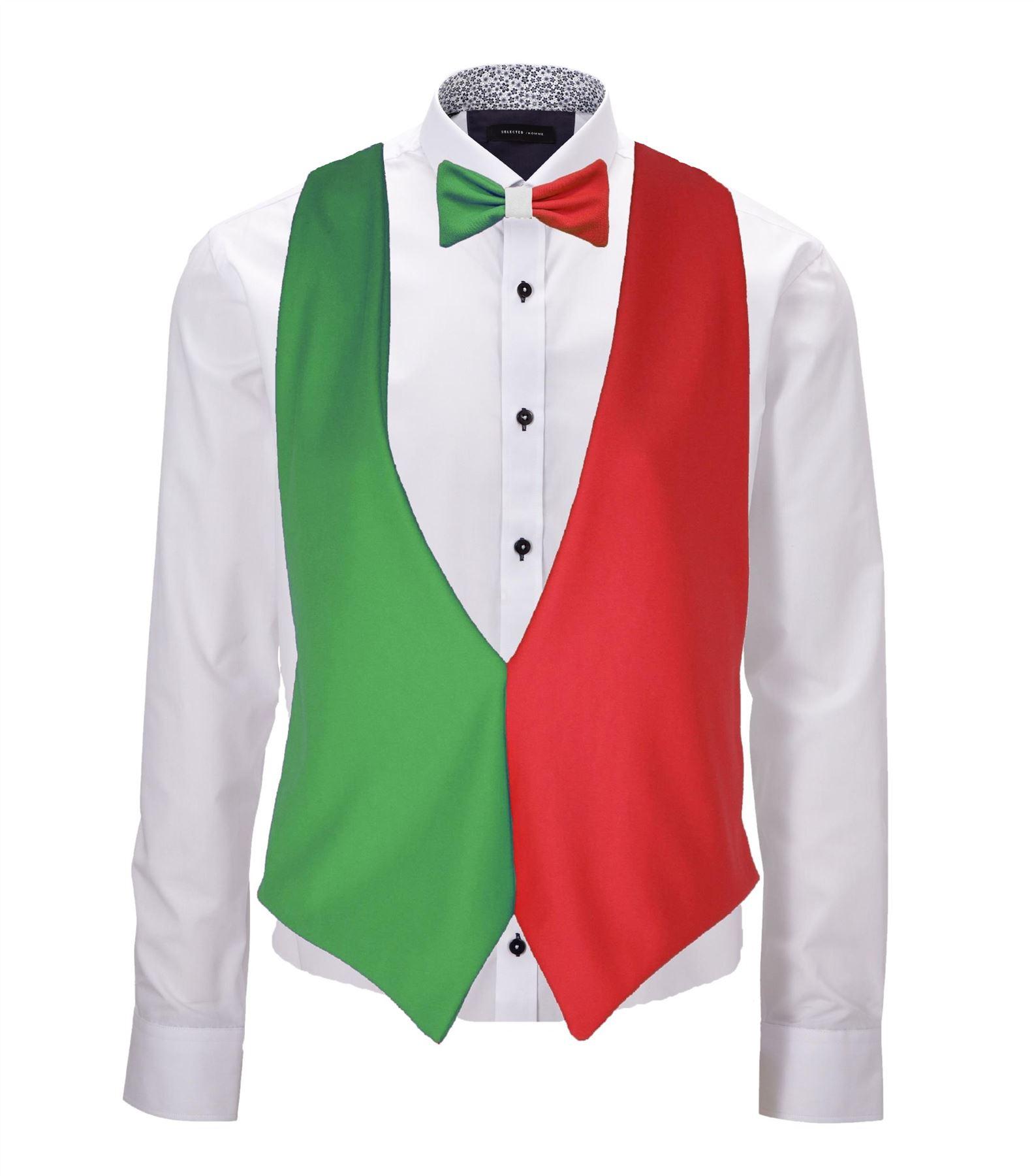 Italian Flag: Adults Italy Flag Backless Waistcoat & Bow Tie Italian