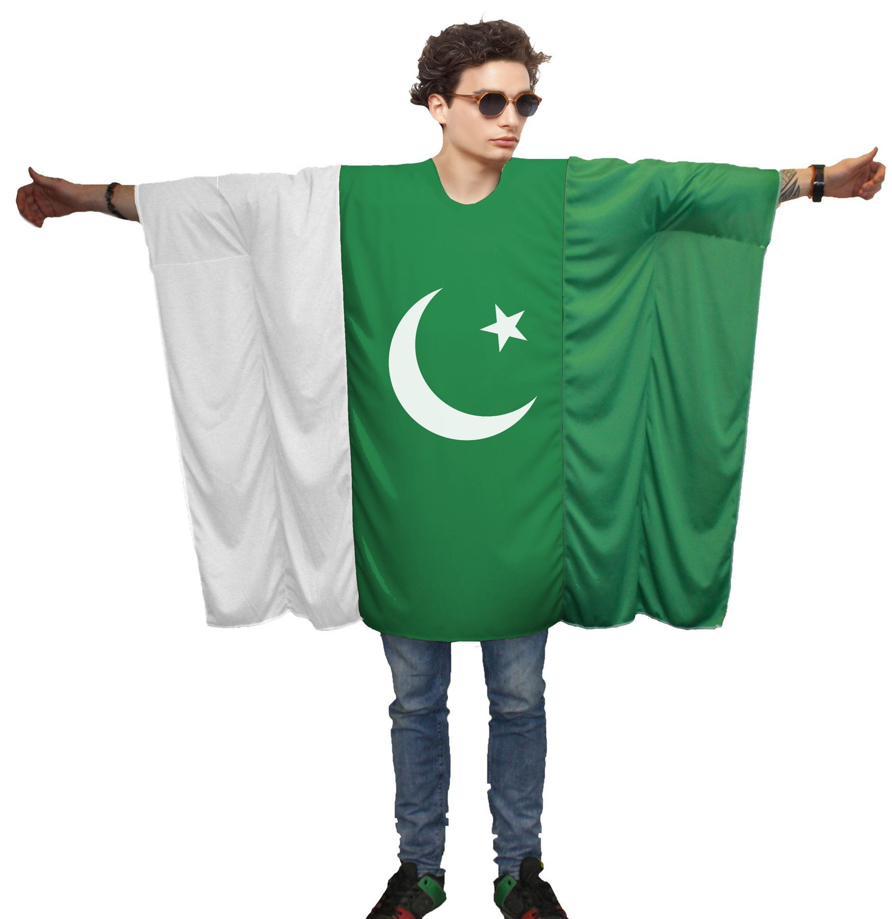 Unisex Pakistan Flag Poncho World Cup Football One Size Cricket Fan Costume