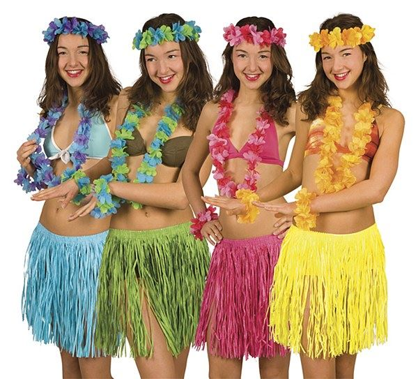 2898a5fd66 Details about Hawaiian Fancy Dress Hula Set Grass Skirt Headband Neck  Garland Hawaii