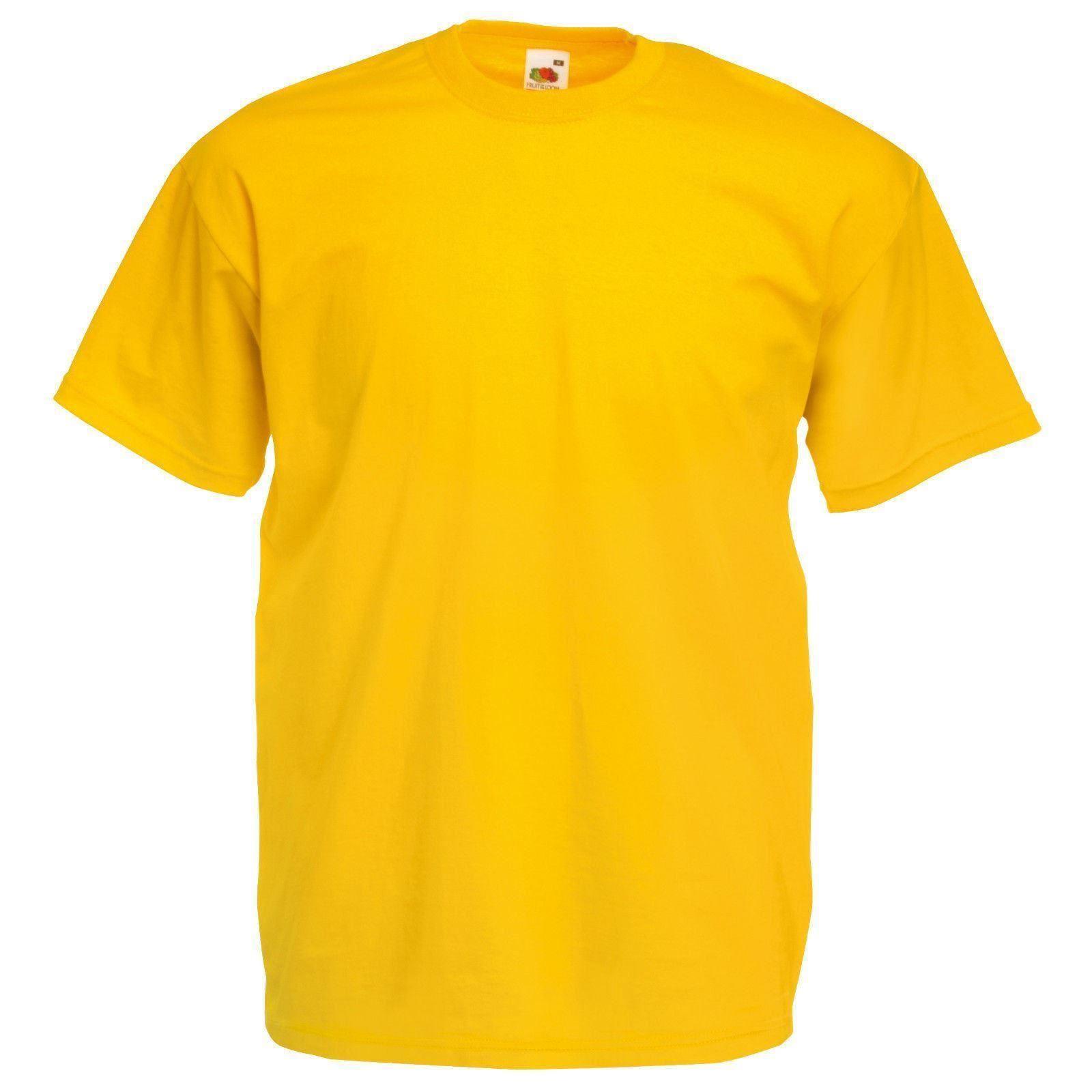 Amarillo-Fruit-of-the-Loom-Para-Hombre-Suave-Hilado-Camiseta-Llano