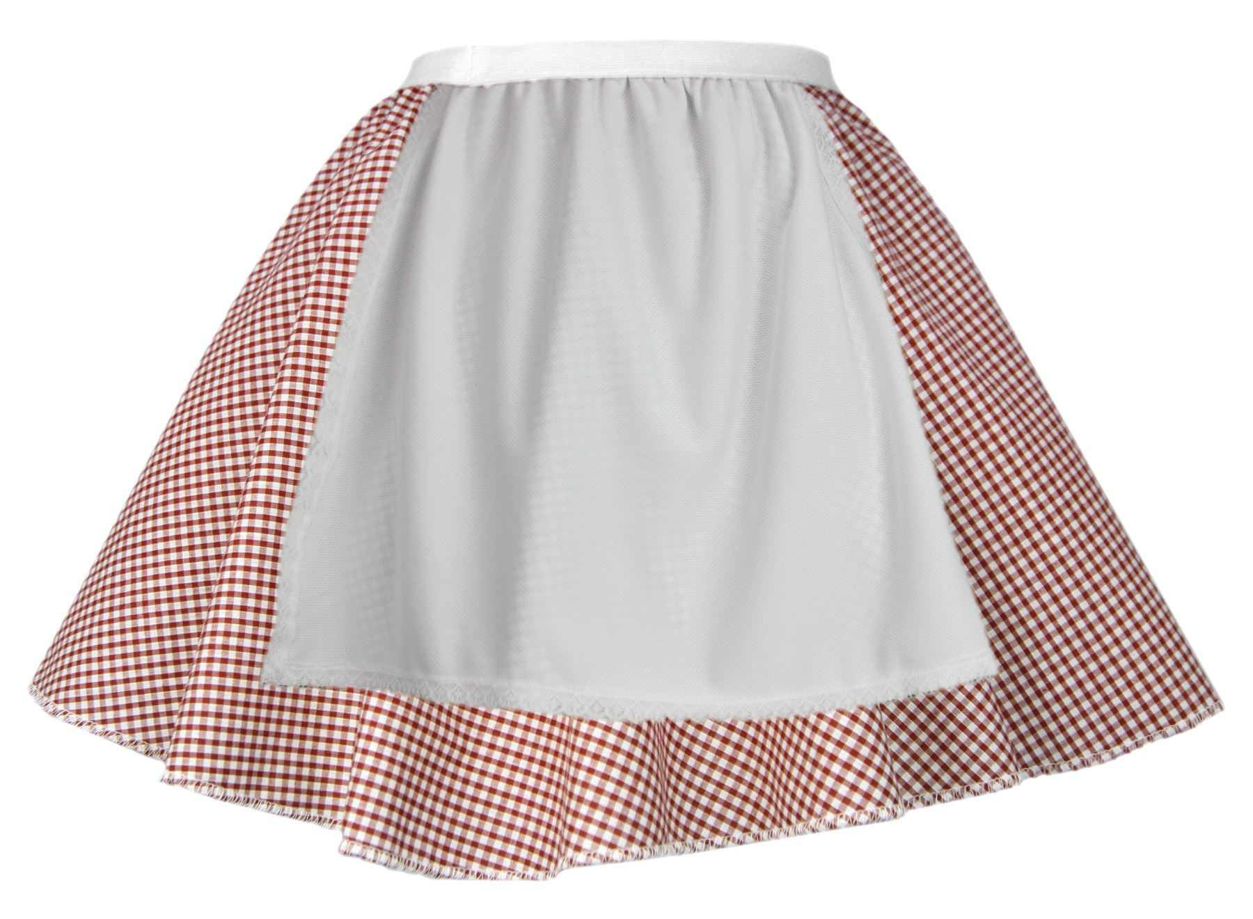 Ladies Red Gingham Skater Skirt With Apron COWGIRL Easter Fancy Dress