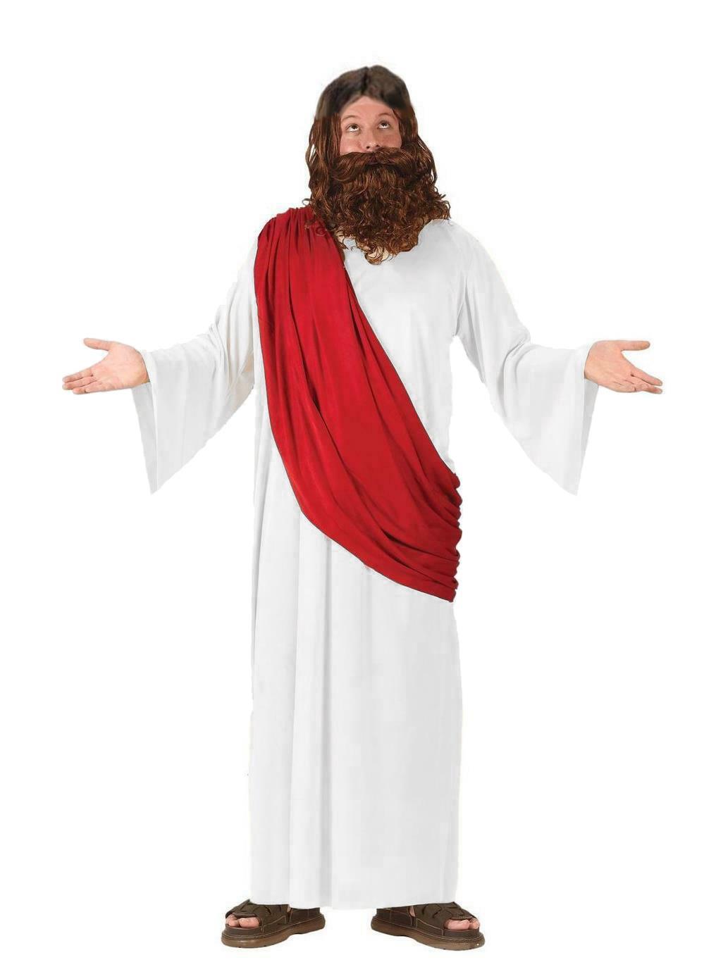 Adults Jesus Fancy Dress Costume Red White Nativity Dress Up Robes Ebay