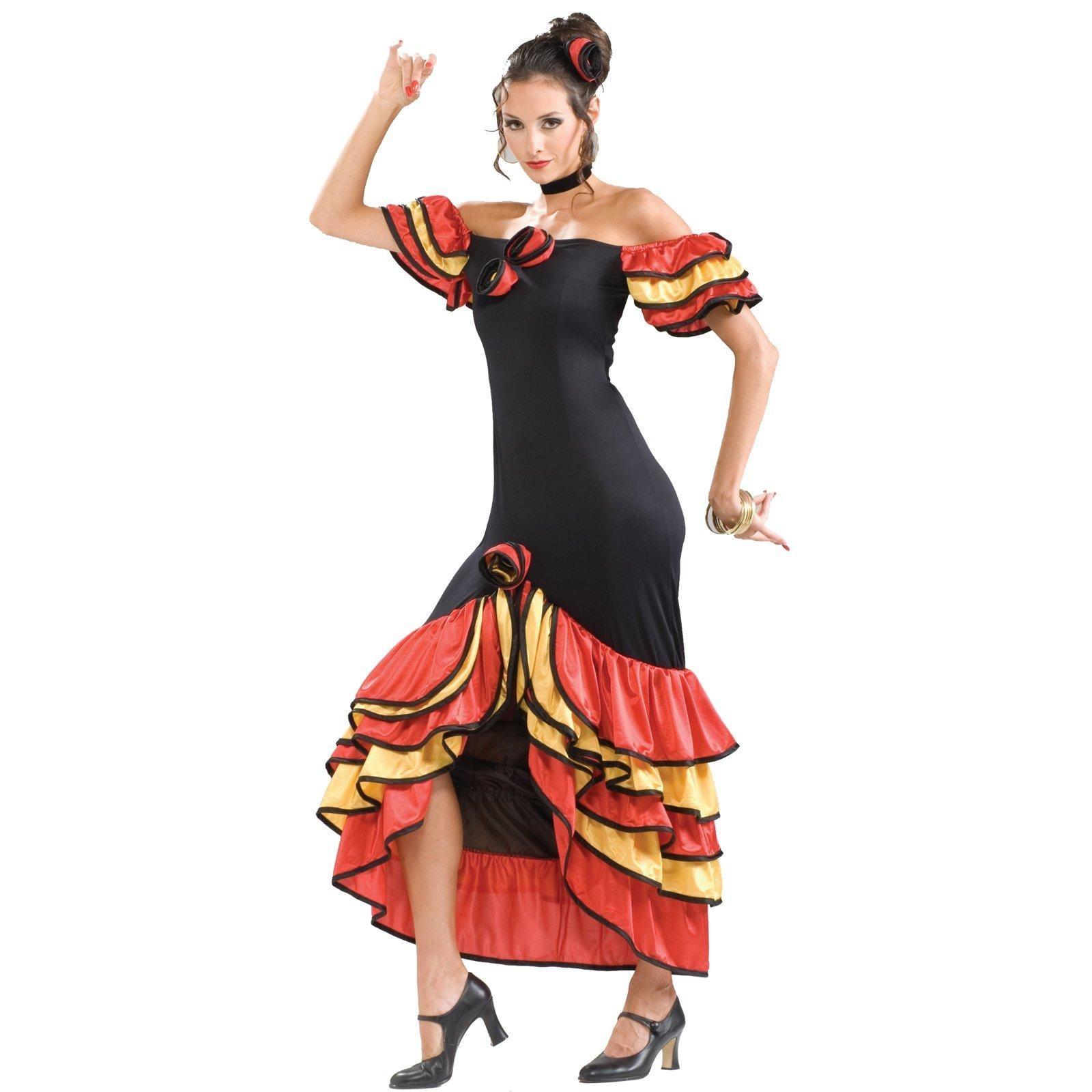 c828bc0a6ab0 Details about Ladies Flamenco Dress Costume Womans Spanish Dancer Fancy  Dress UK
