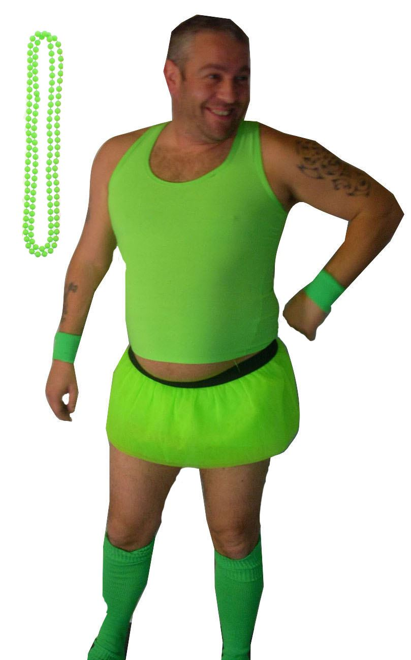Stag Party Costumes Neon Guys Full Set Mens Funny Tutus with Beads