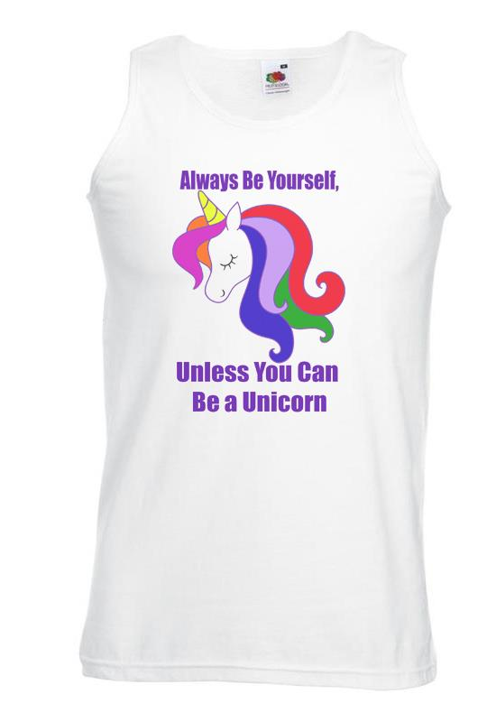 Unisexe Blanc Always Be Yourself Unless Licorne Vest Pride Rainbow Lgbt-afficher Le Titre D'origine Vous Garder En Forme Tout Le Temps