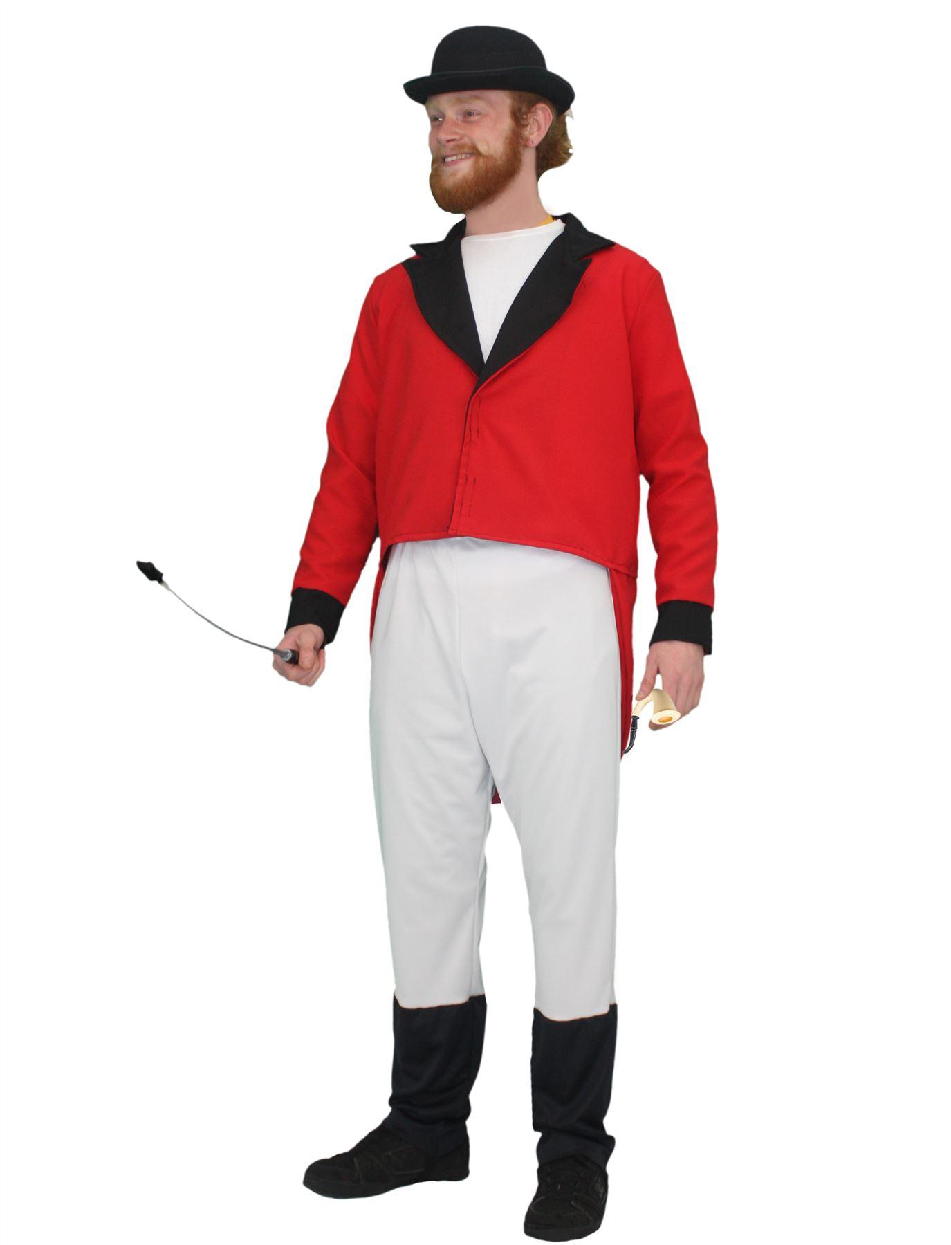 Deluxe Fox Hunter Costume - Red Jacket, Jockey Trousers & Bowler Hat