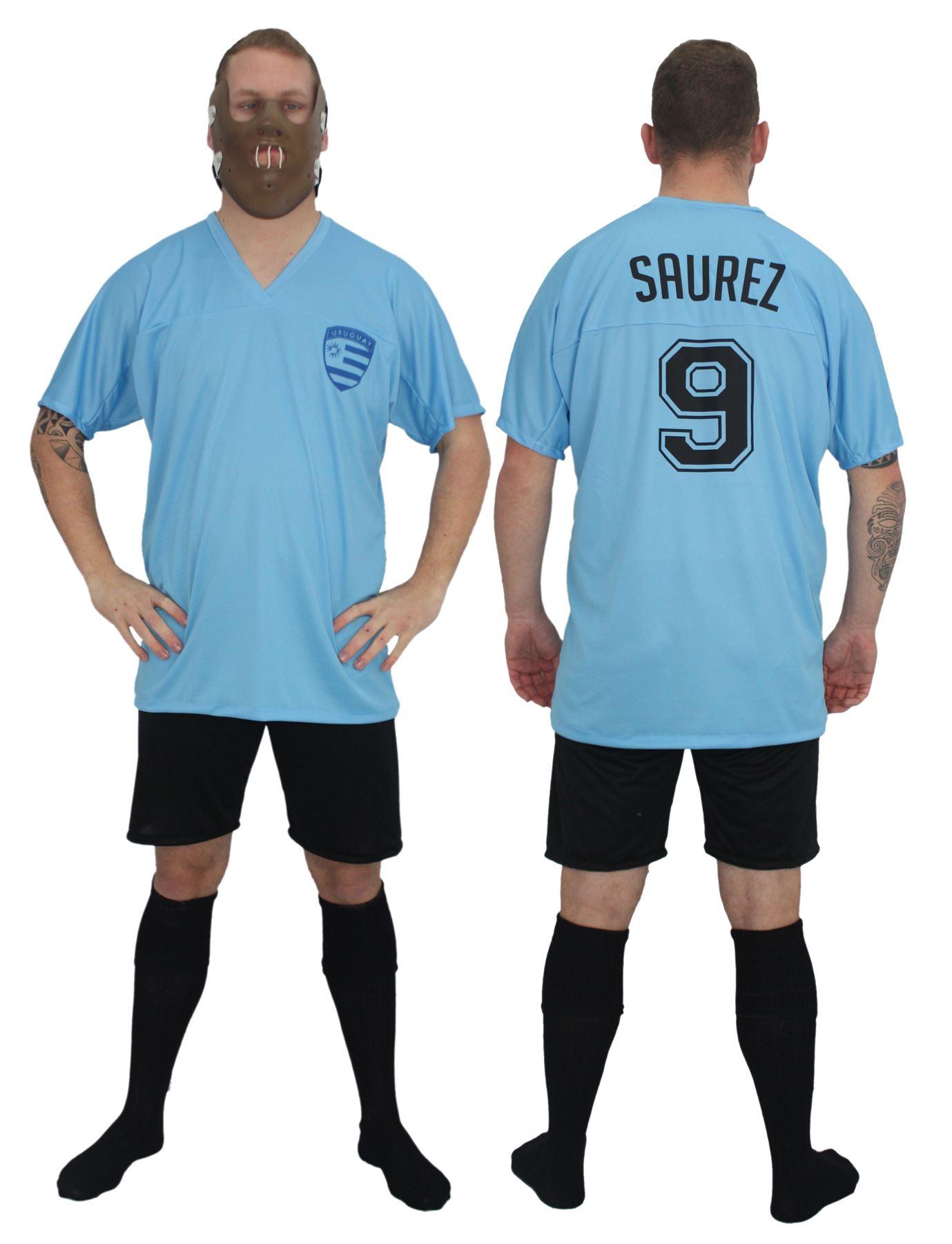 Adults Uruguay Football Icon Luis Suárez Kit Fancy Dress & Bite ...