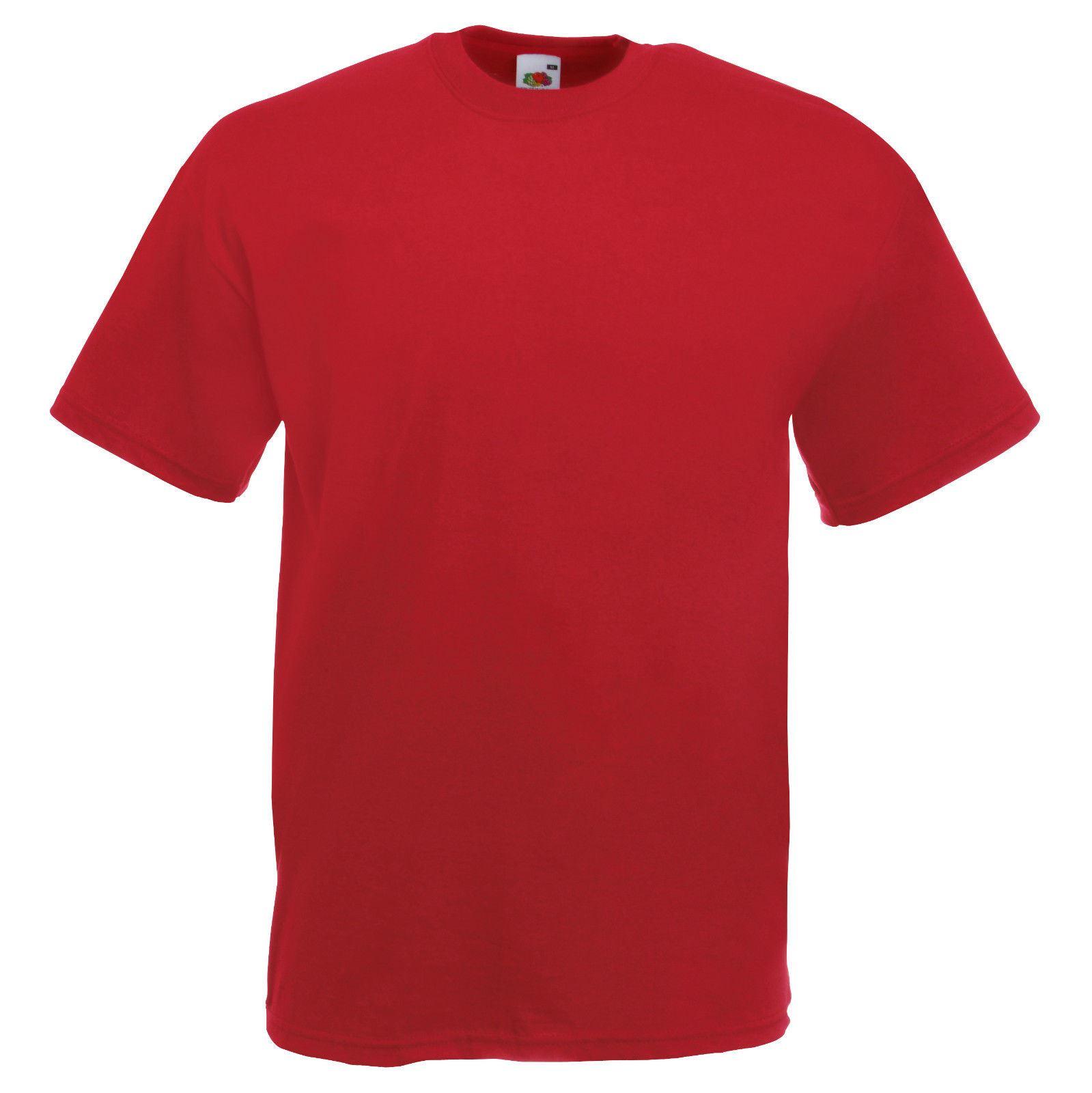 Red-Fruit-of-the-Loom-Para-Hombre-Suave-Hilado-Camiseta-Llano