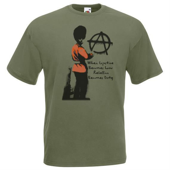 Unisex Olive Green Banksy Red Guard Anarchy T-Shirt Shirt Injustice Law