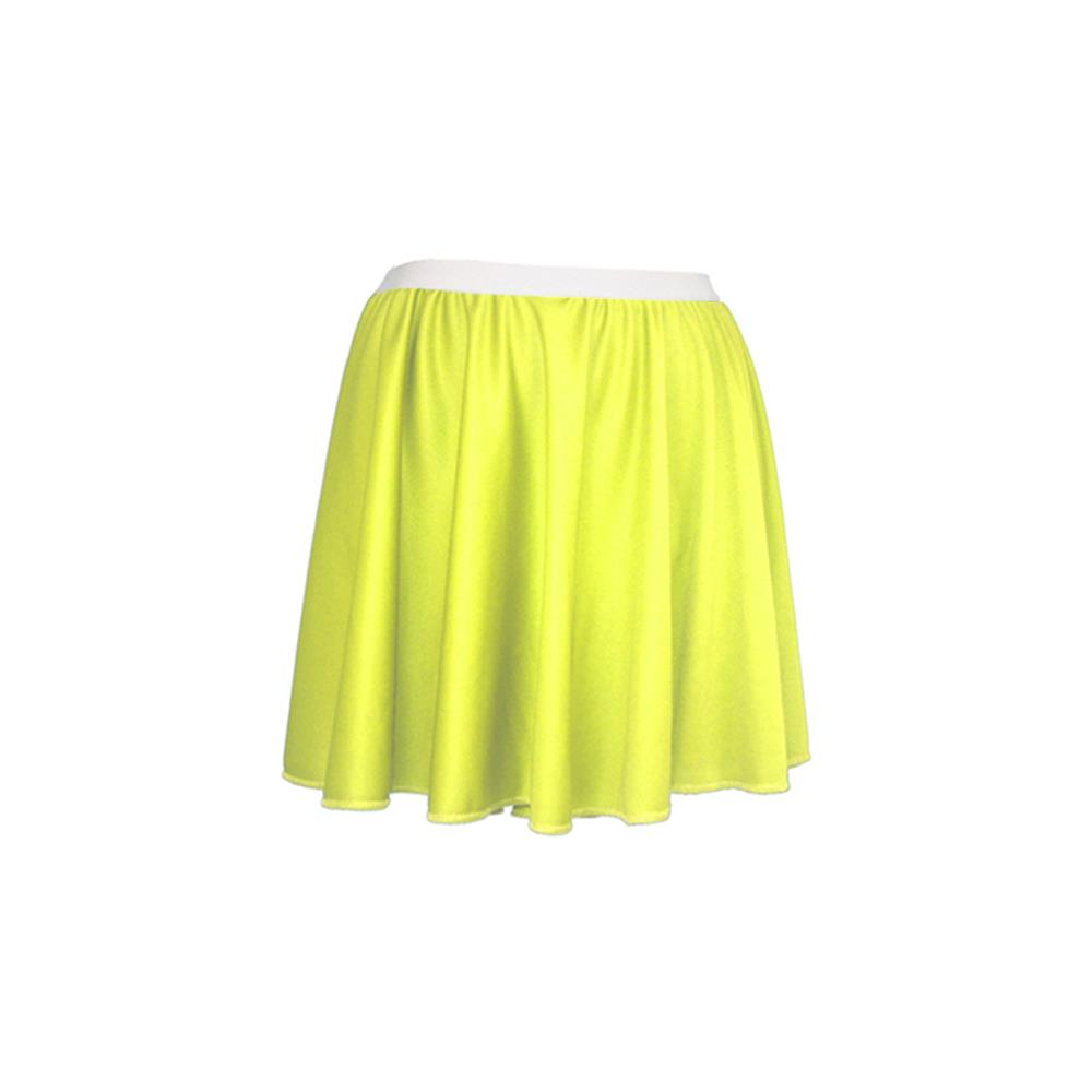 "Ladies 15/"" Bright Yellow Skater Skirt Roller Disco Cheerleader Fancy Dress"