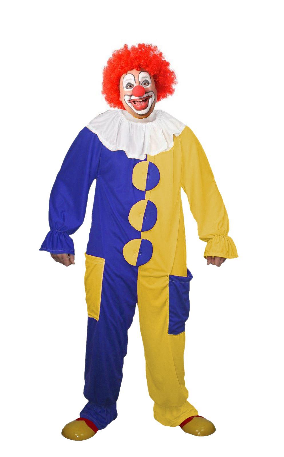 Gli adulti unisex Blu /& Giallo Clown Costume Circo Tuta Costume