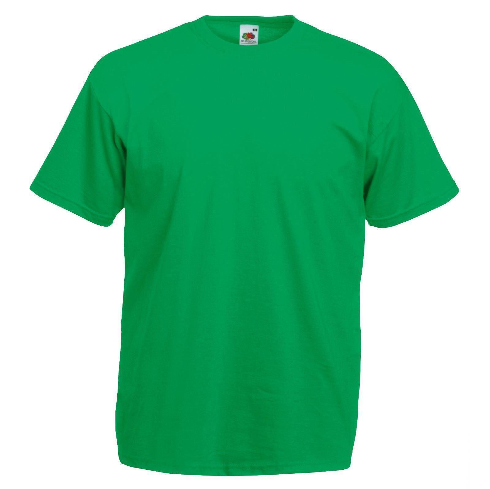 Kelly green fruit of the loom mens soft spun t shirt plain for Green mens t shirt