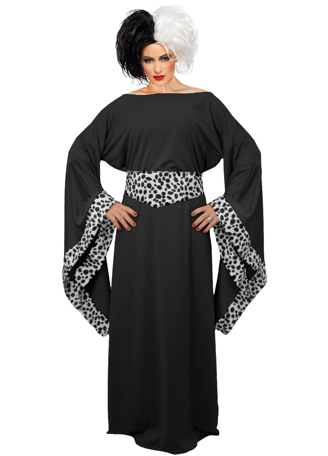 ladies black cruella de ville costume 101 dalmatians halloween fancy dress ebay. Black Bedroom Furniture Sets. Home Design Ideas