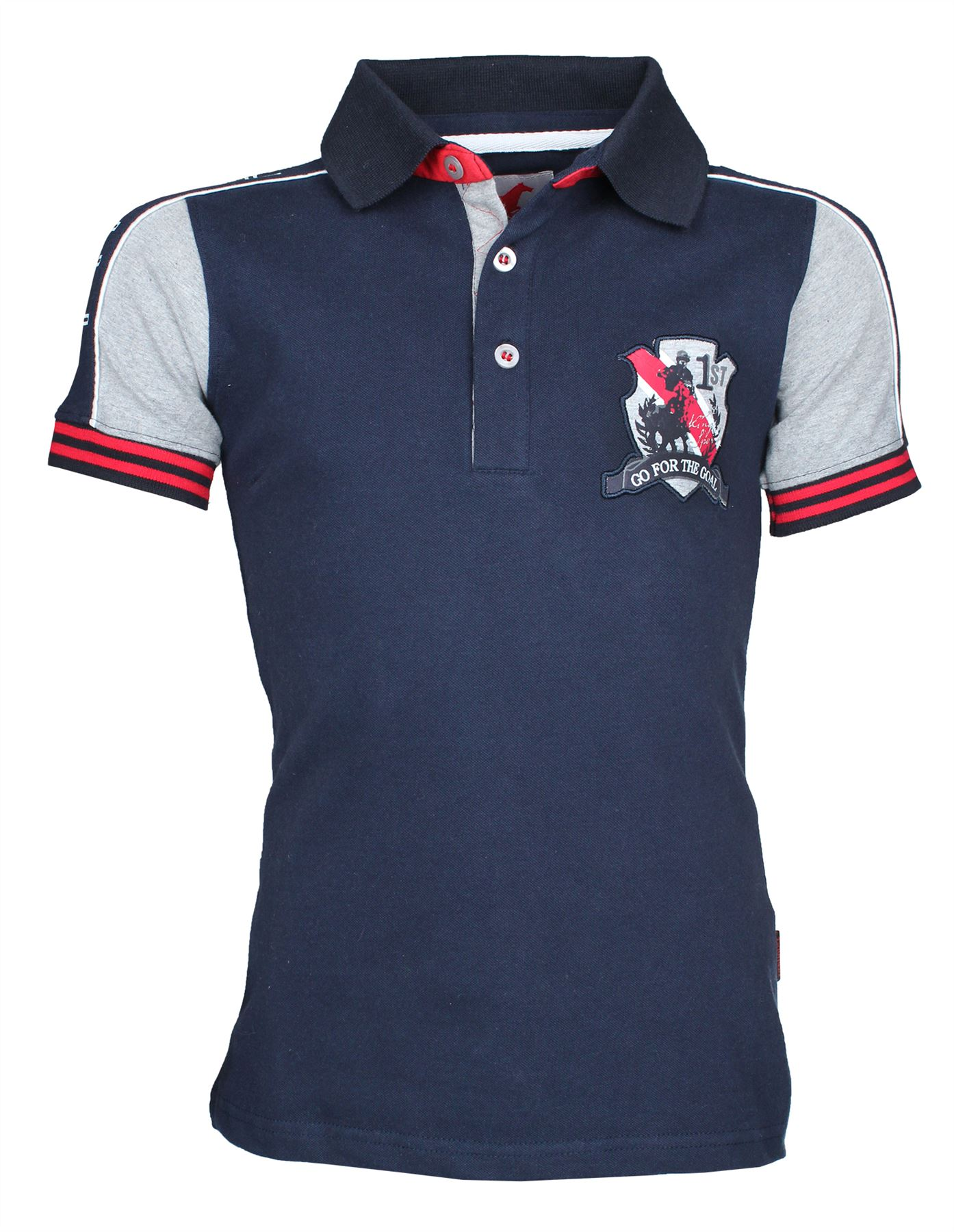 Red Horse Boys Junior Bronx Polo Cotton Printed Blue Outdoor Equestrian Shirt