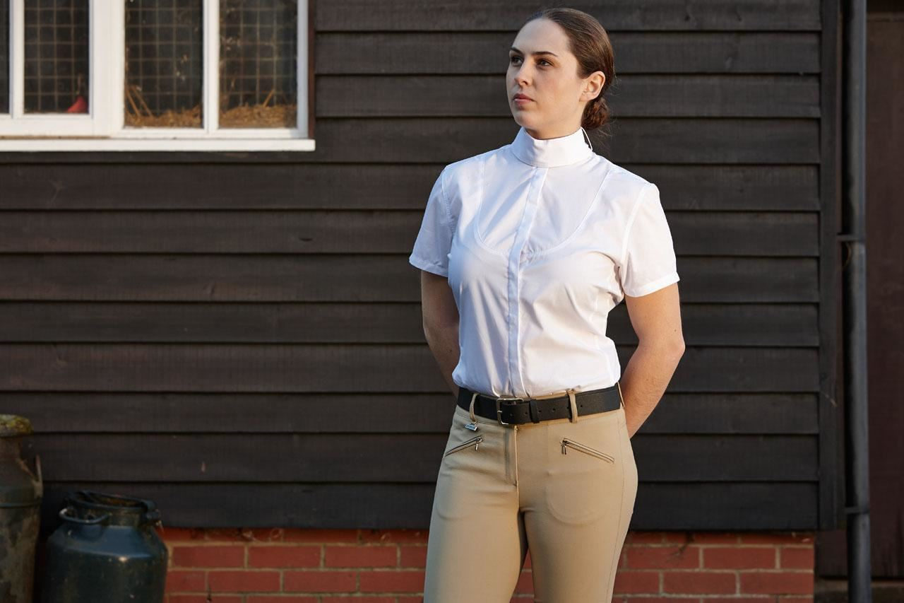 Dublin Penwood Ladies Horse Riding Show Jumping Competiton Shirt With Tie Keeper