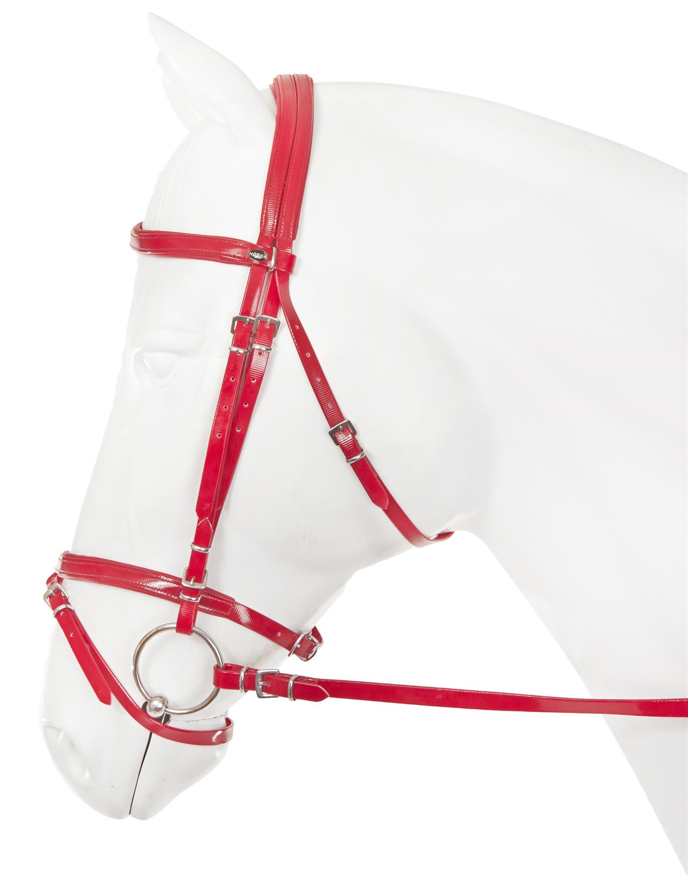 Horka Equestrian Flashy Synthetic Pvc Nylon Bridle With Straps And Rubber Rein