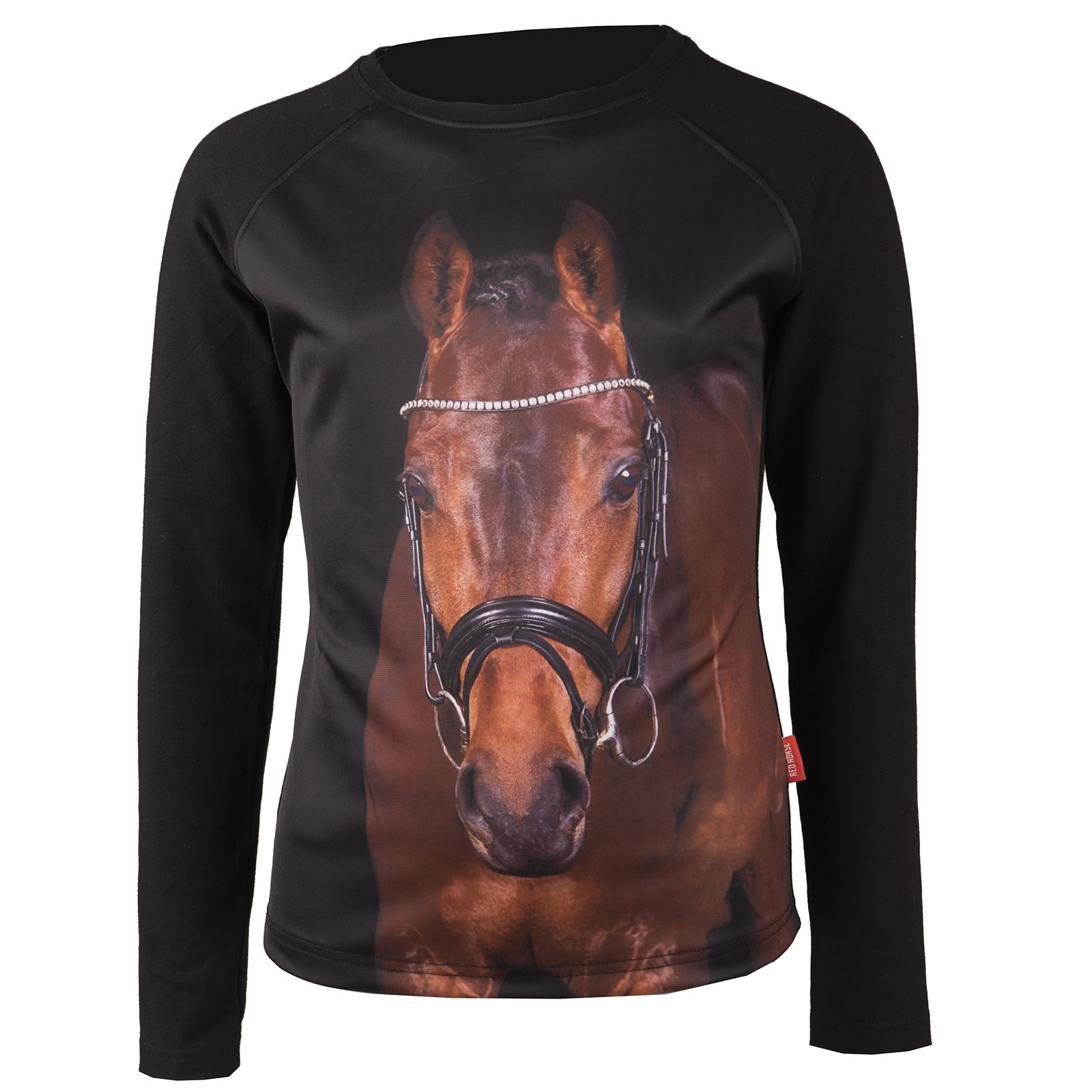 Red Horse Kids Pixel Horse Print Equestrian Pony Riding Long Sleeved T-Shirt