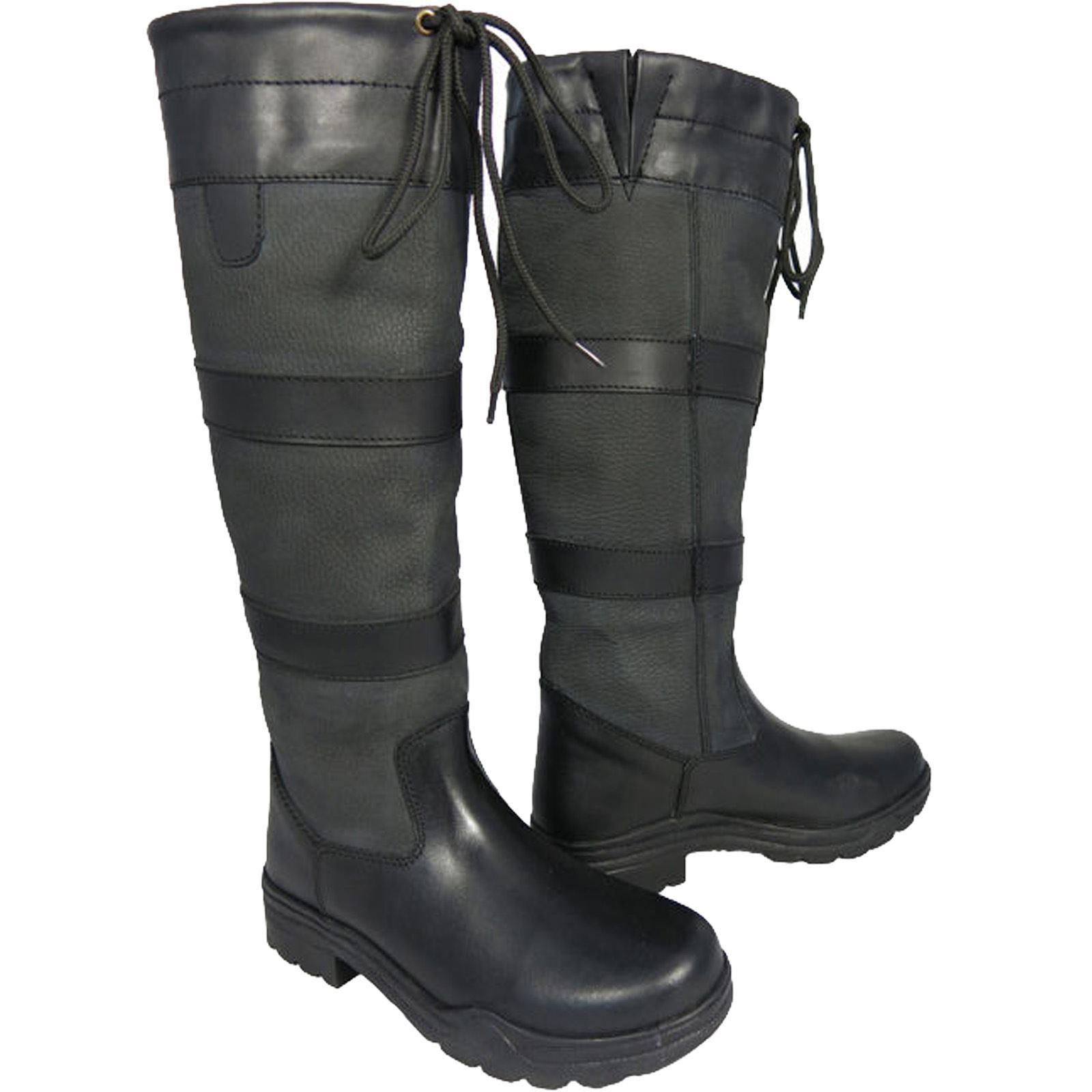 Ladies Mens Waterproof Winter Horse Farm Wellies Leather ...