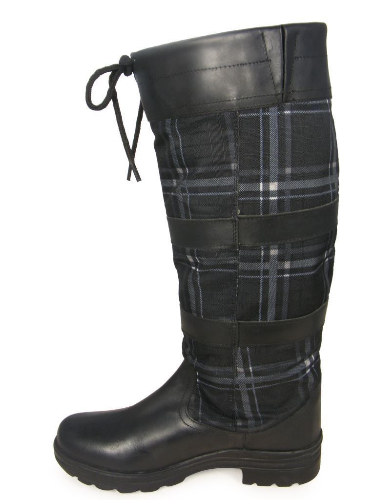 HKM Checker Fashion Non Slip Waterproof Waterproof Waterproof Long Walking Riding Leather Country Boot 0df386