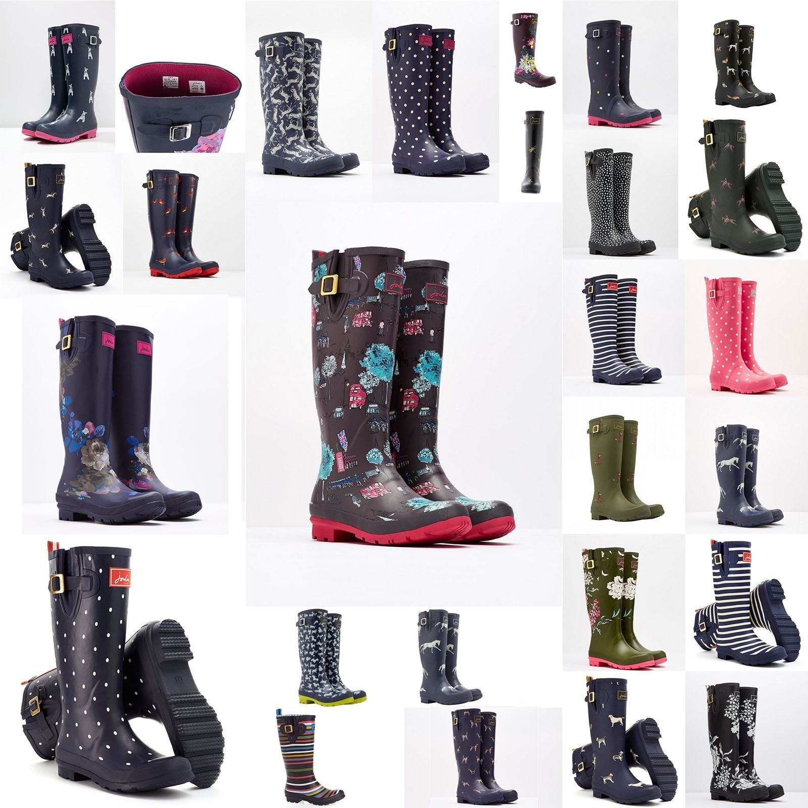 Joules Design Print Women Waterproof Fashion Rain Festival Walking Wellies Boots