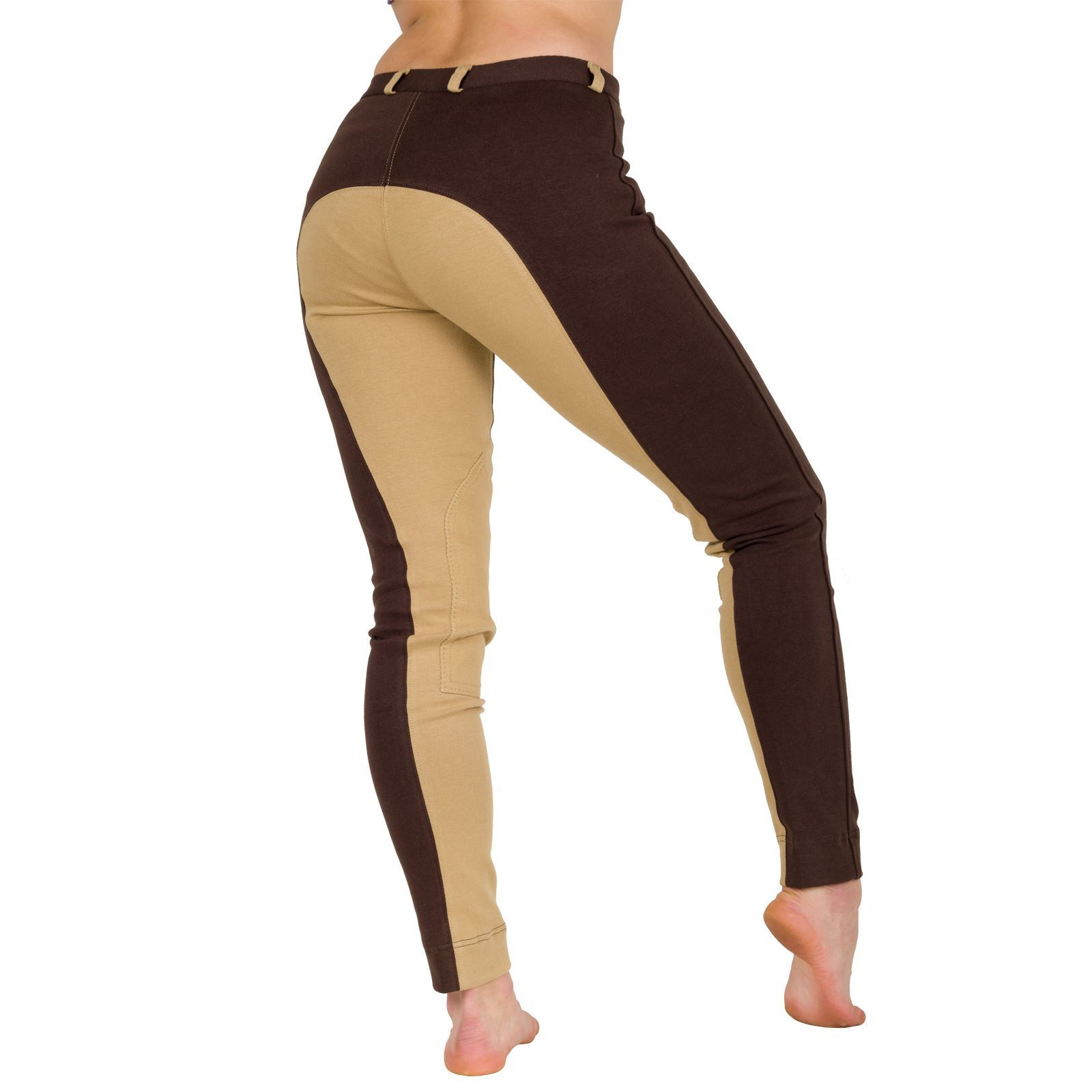 Ladies-Womens-Stretchy-Comfort-2Tone-Plus-Size-Self-Seat-Breeches-Jodhpurs