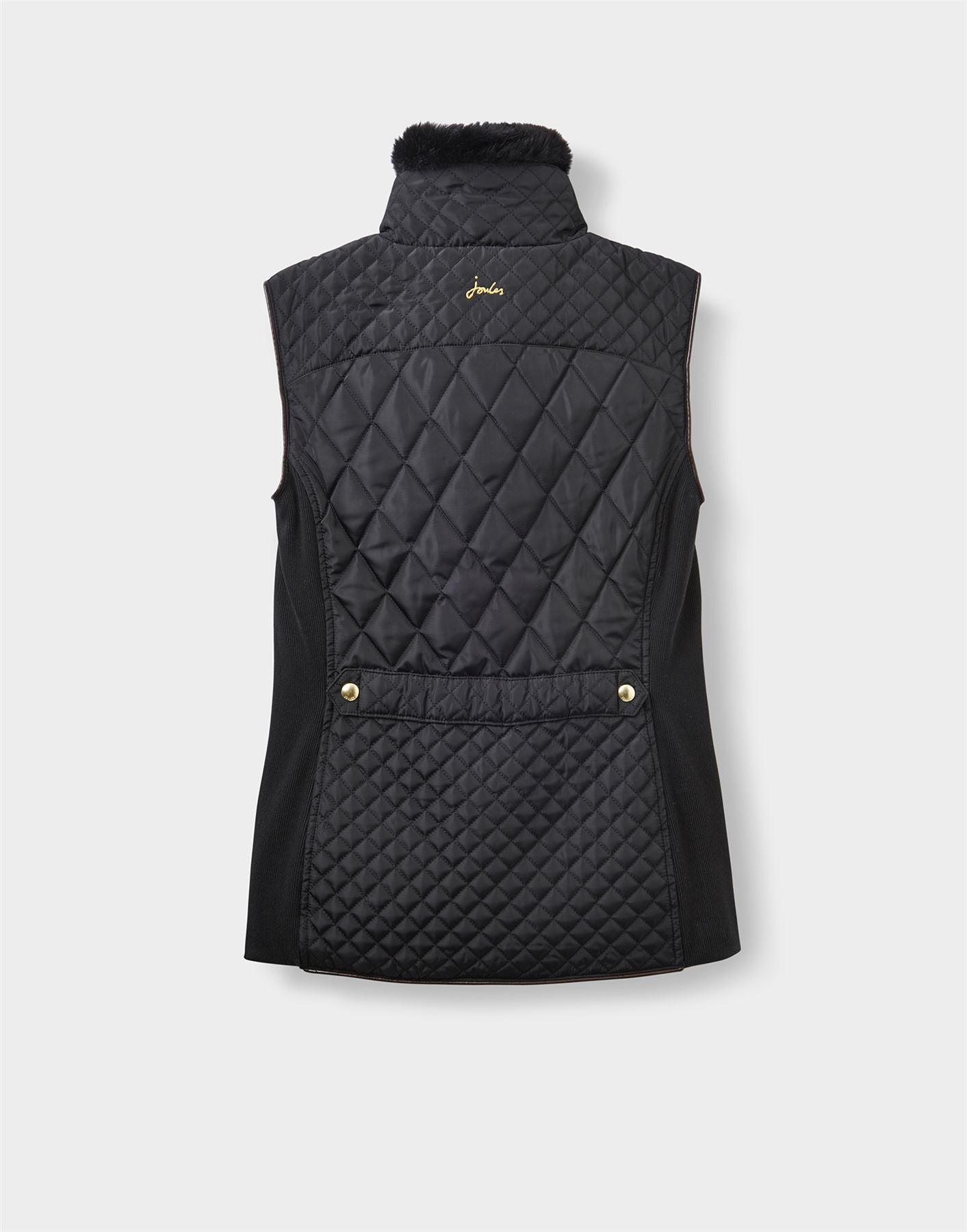 Joules Inverness Ladies Country Equestrian Quilted Gilet With Faux Fur Collar