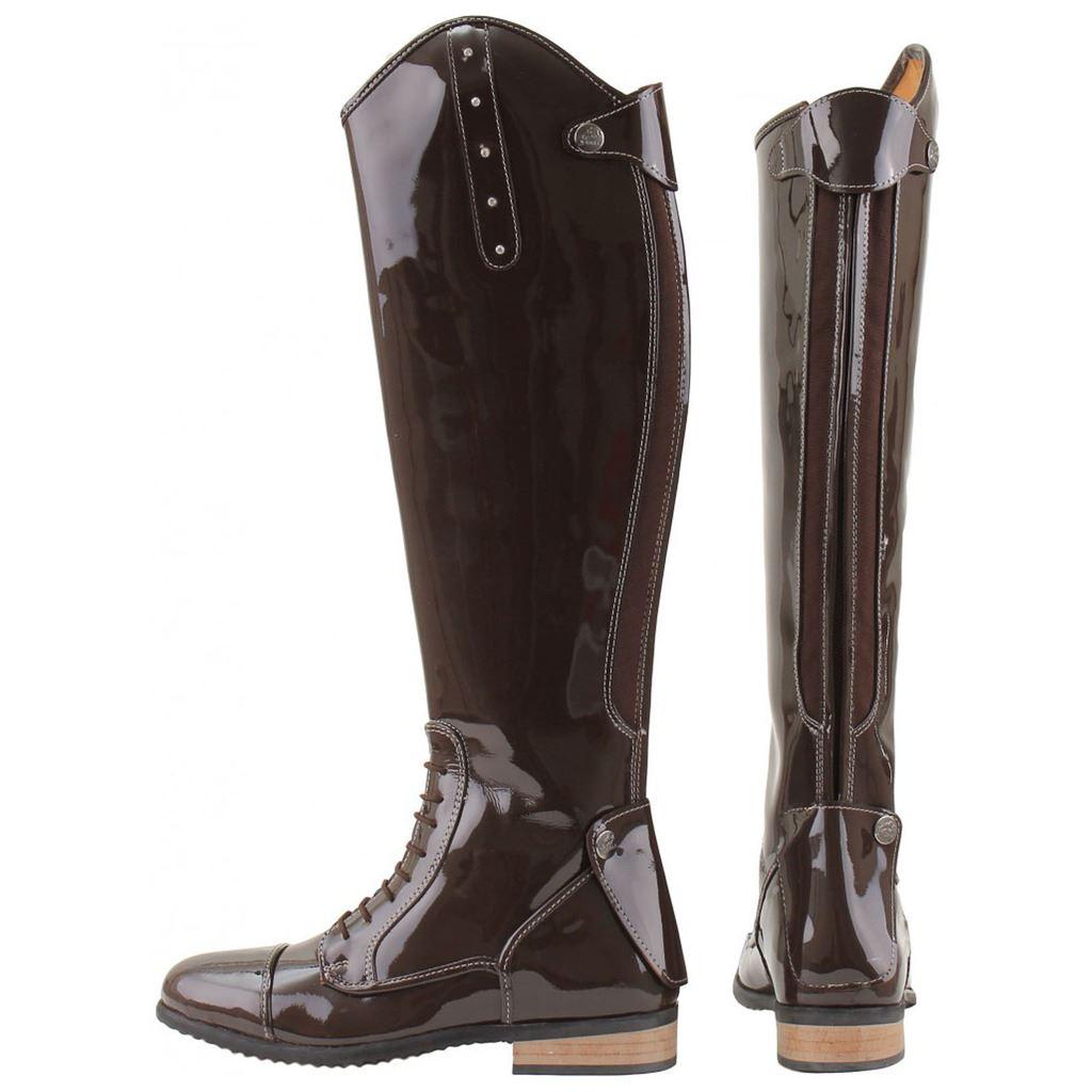 Horka Ladies Diamante Bonny Shiny Leather Rhine Stones Finish Horse Riding Boots