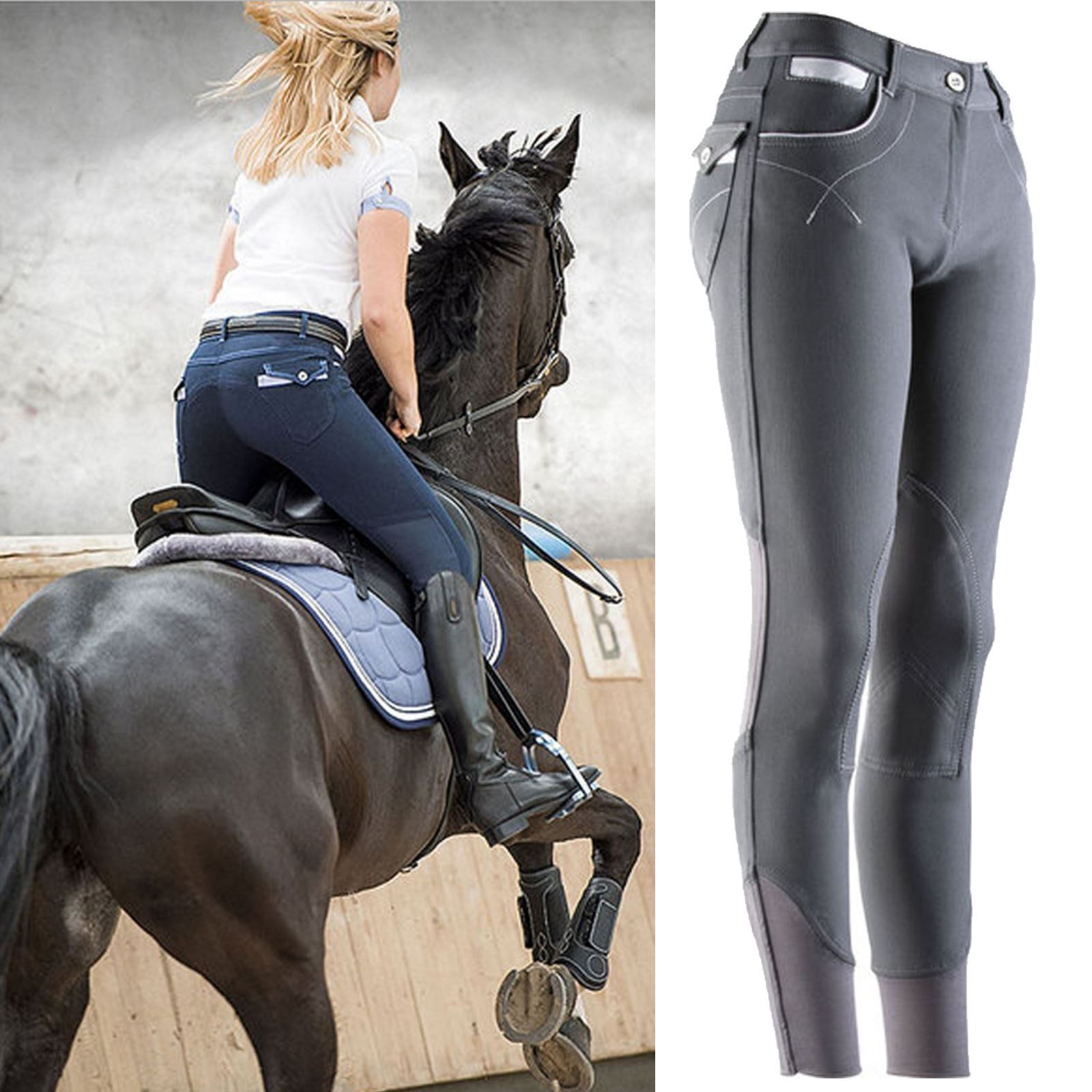 Equi Theme Lea Ladies Classy Contoured Seat Soft Stretch Horse Riding Breeches Ebay