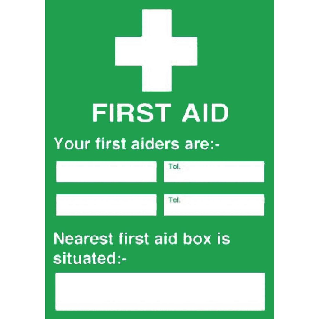 First Aiders Nearest First Aid Box Sign Notice Safety