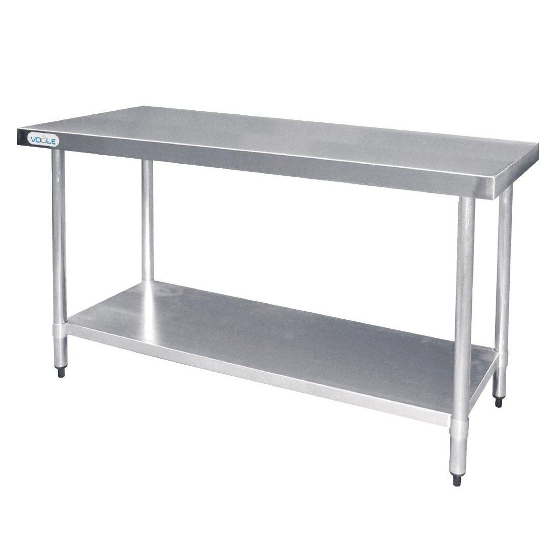 Vogue stainless steel prep table no upstand 600mm commercial kitchen work bench