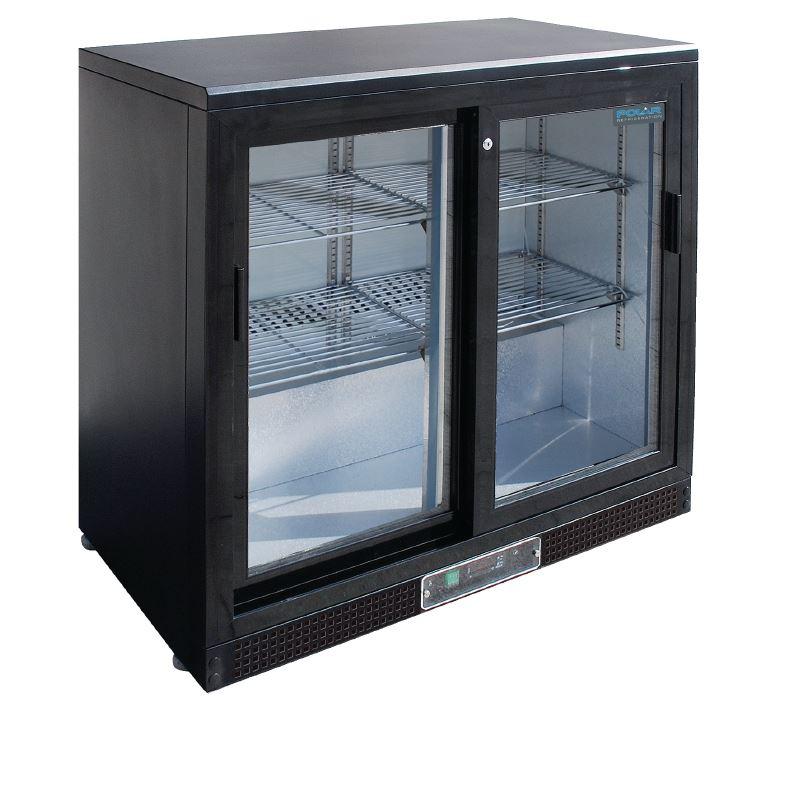 Basement Bar Conceptual Would Need Glass Sliding Doors: Polar Double Sliding Door Back Bar Cooler Display Fridge