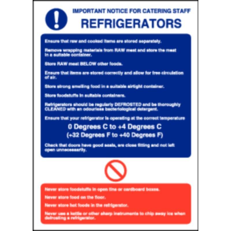 Refrigerator Guidelines Sign 300X200mm Fridge Vinyl Notice ...
