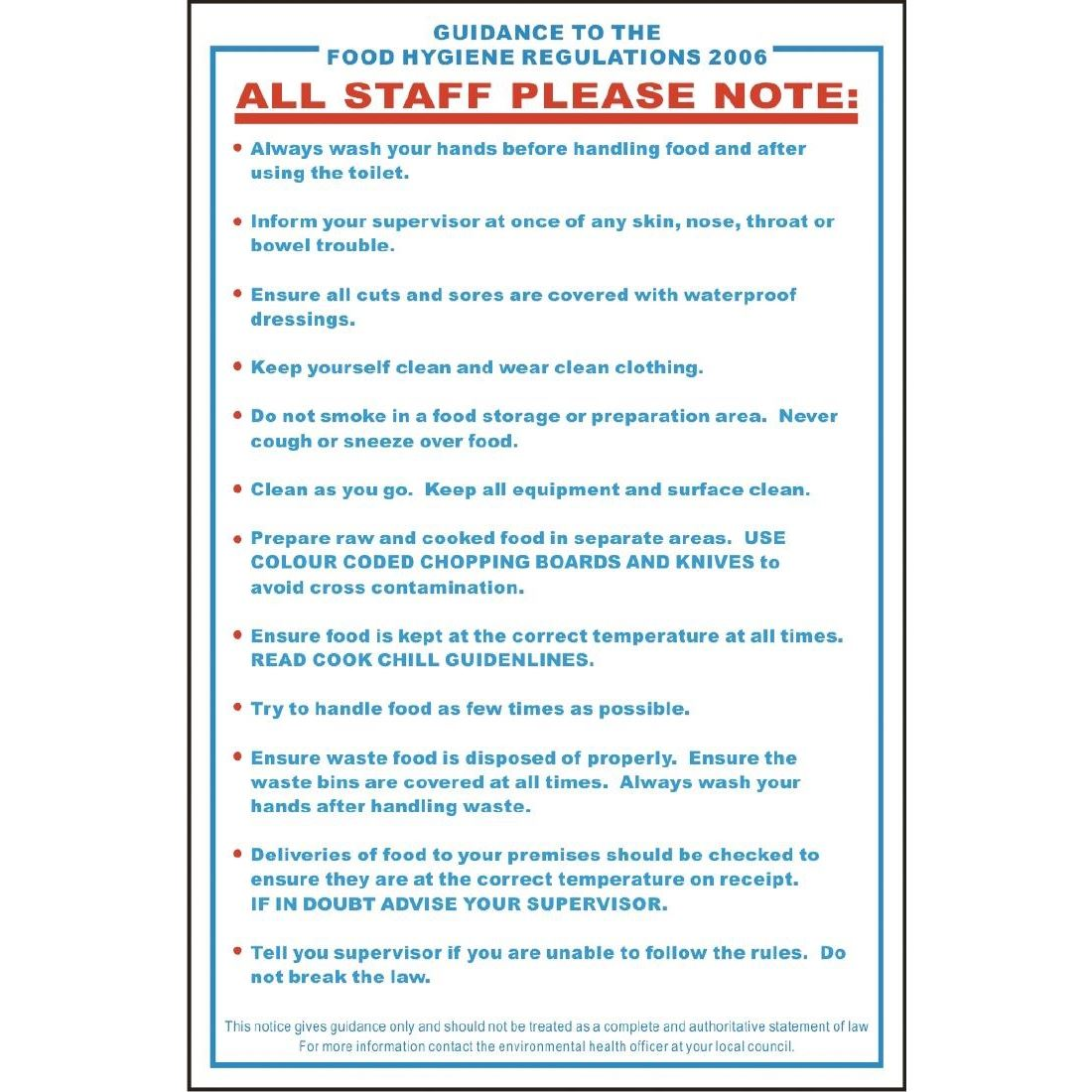 Vogue Food Safety Act 1995 Guidance Sign Notice Poster
