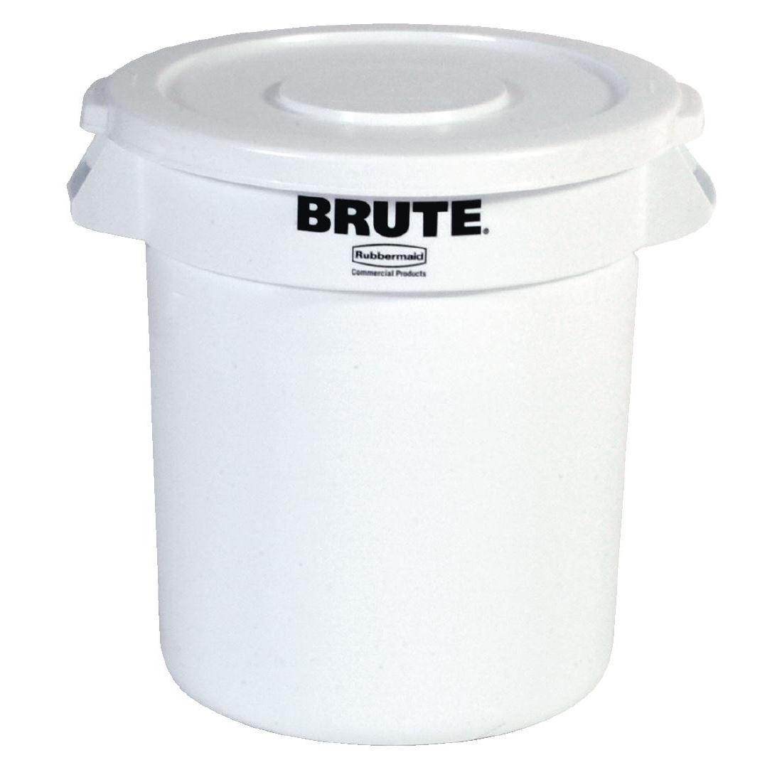 Rubbermaid Round Brute Container In White With Handles On