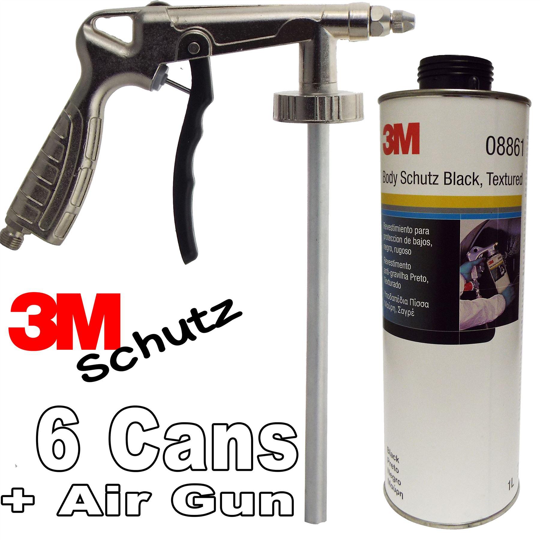 6 X 3M Car Body Schutz   Black Underseal + Underbody Coating Gun 08861