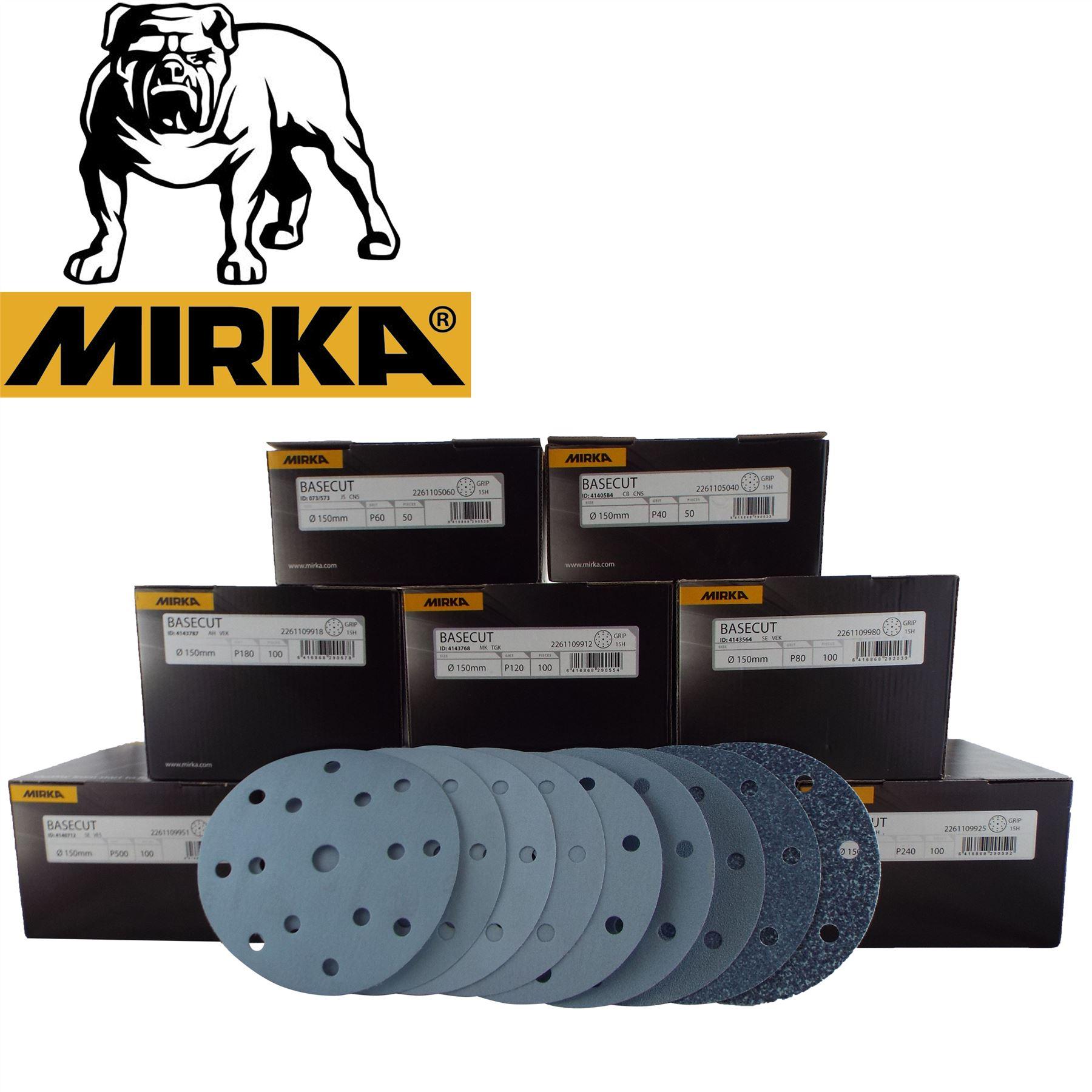 "Mirka 22-612-180 BaseCut 5/"" Hook And Loop Grip Discs 180G 50//Box"