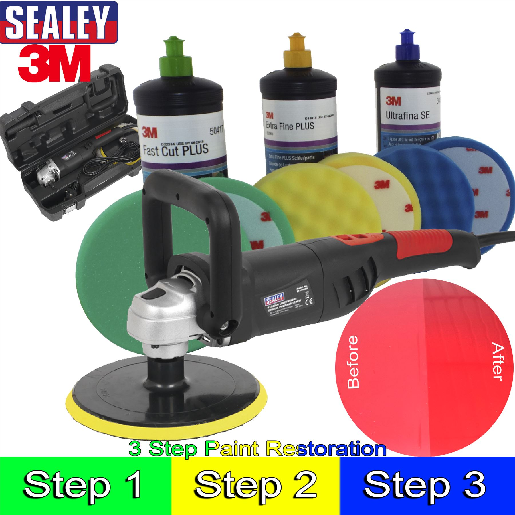 sealey 3m car body car kit digital polisher 3m polish paint restoration kit ebay. Black Bedroom Furniture Sets. Home Design Ideas