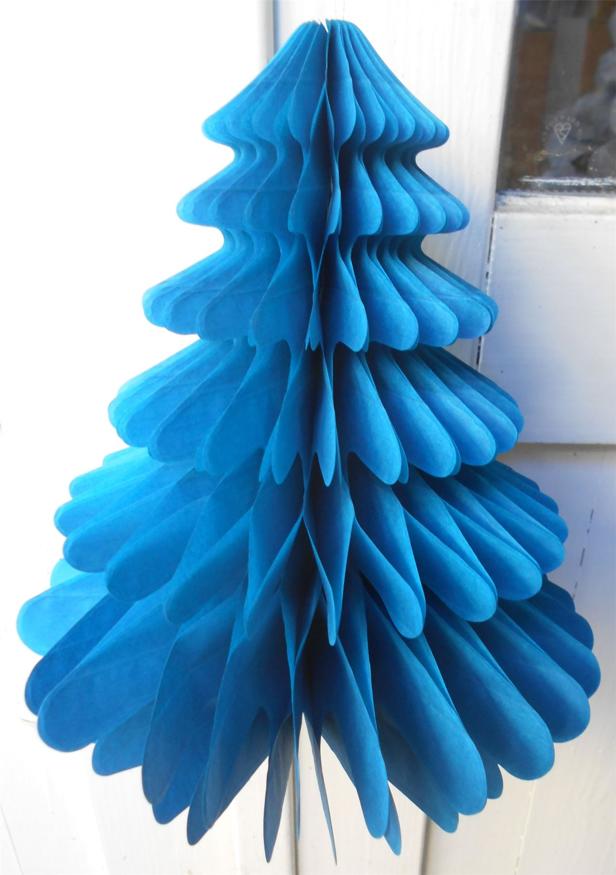 Paper Christmas Decorations.Details About Honeycomb Paper Christmas Decorations 2 X Christmas Trees Sky Blue