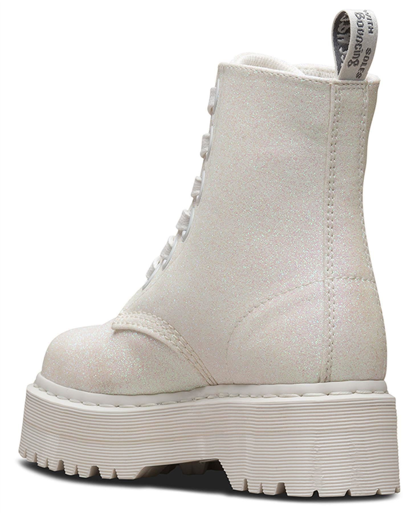 13cd626c475 Details about Dr Martens Ladies Molly Iridescent White Glitter PU Ankle  Platform Boots