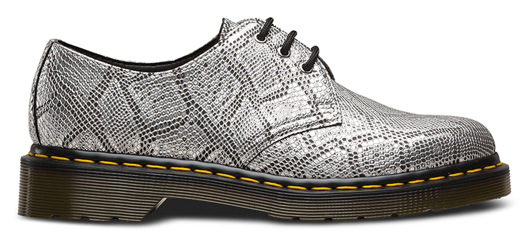 3cdcc0817b5 Dr Martens 1461 Vegan Vegetarian Pascal Metallic Silver Snake Shoes ...